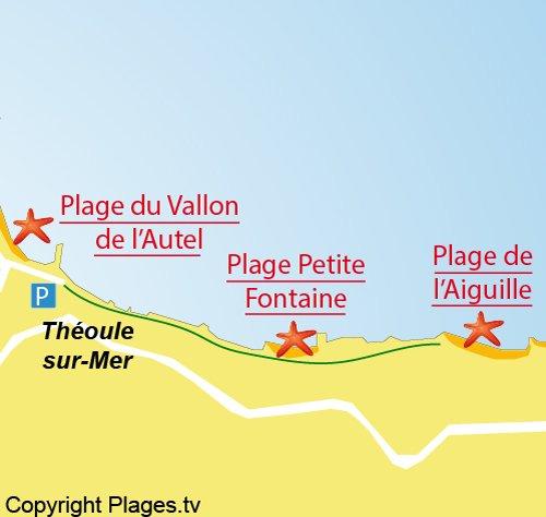 Carte de la plage de l'Aiguille à Théoule