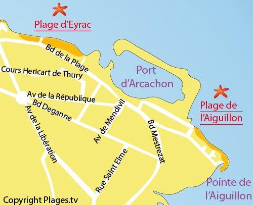 Plan de la plage d'Aiguillon à Arcachon