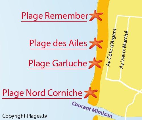 Carte de la plage des Ailes à Mimizan