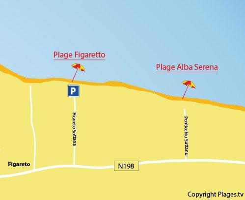 Carte de la plage d'Alba Serena en Corse