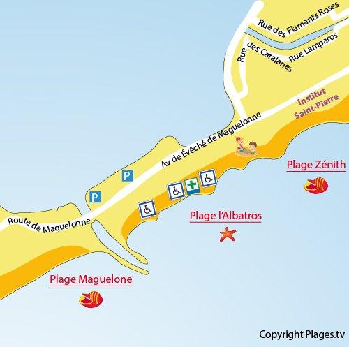 Plan de la plage Albatros à Palavas les Flots