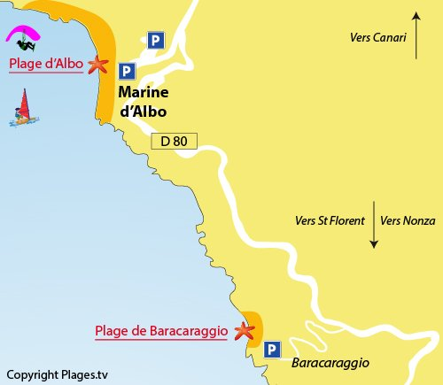 Map of Albo Beach in Corsica