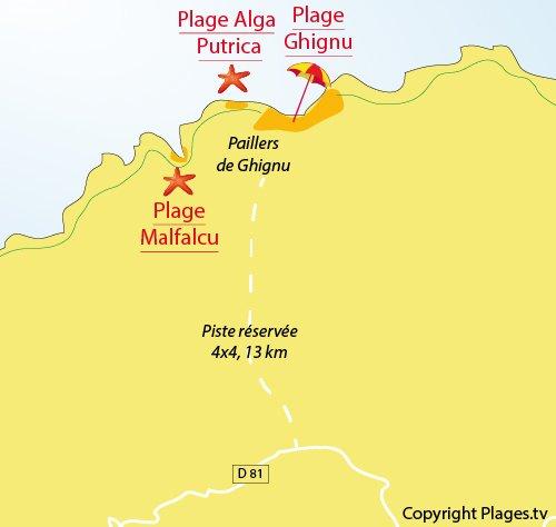 Map of Alga Putrica Beach in Agriates Desert - Corsica
