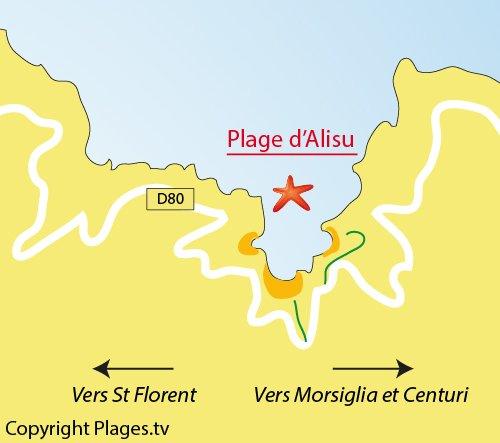 Carte des plages dans le golfe d'Alisu à Morsiglia dans le Cap Corse