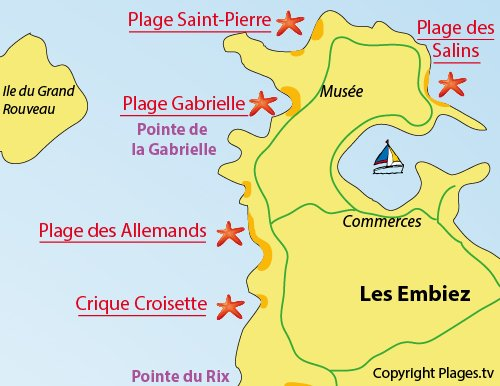 Map of Allemands Beach - Iles des Embiez