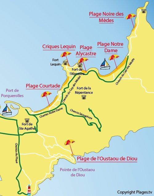 Carte de la plage Alycastre à Porquerolles