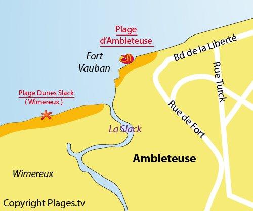 Carte de la plage à Ambleteuse