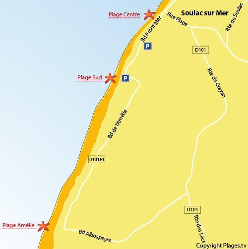 Carte de la plage de l'Amélie à Soulac