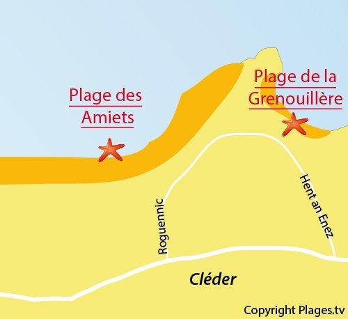 Carte de la plage des Amiets à Cléder