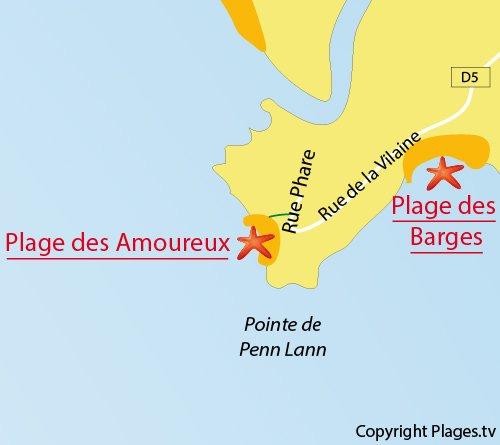 Carte de la plage des Amoureux à Billiers - Bretagne