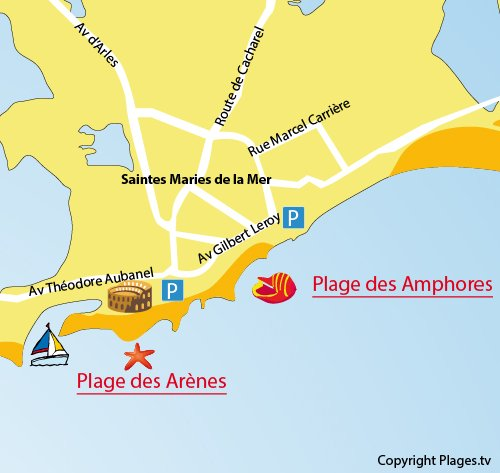 Karte Strand Amphores in Saintes Maries de la Mer