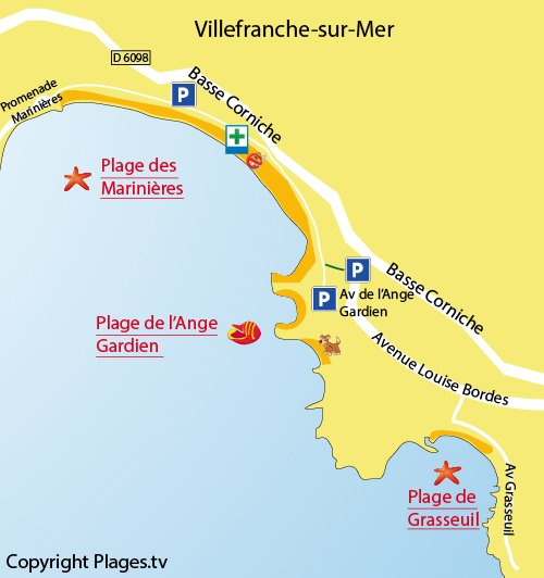 Map of the Ange Gardien Beach in Villefranche sur Mer