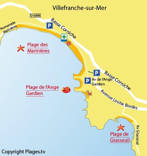 Carte de la plage de l'Ange Gardien à Villefranche sur Mer