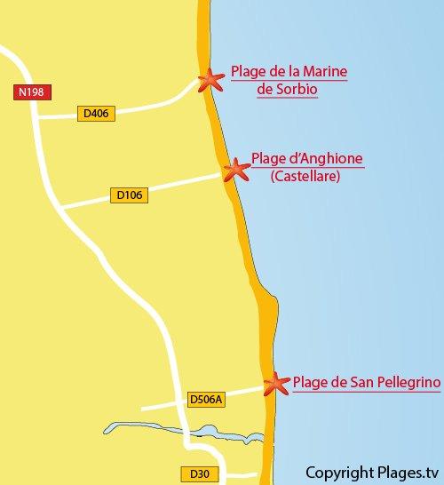 Carte de la plage d'Anghione en Corse