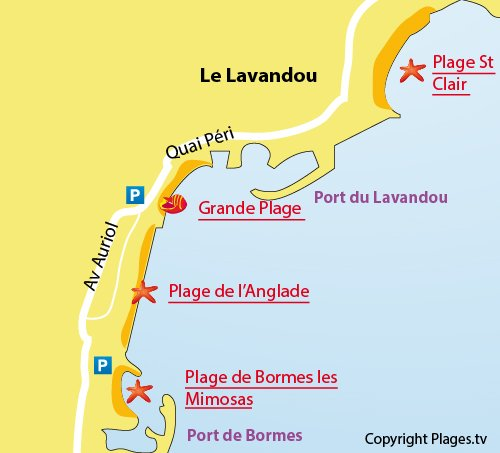 Map of Anglade beach in Lavandou