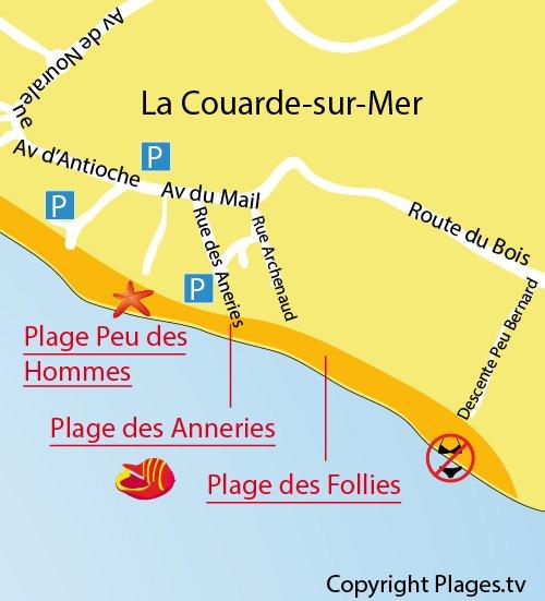 Carte de la plage des Anneries à Couarde sur Mer sur l'Ile de Ré