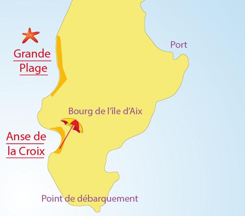 Map of Anse de La Croix Beach in Island of Aix - France