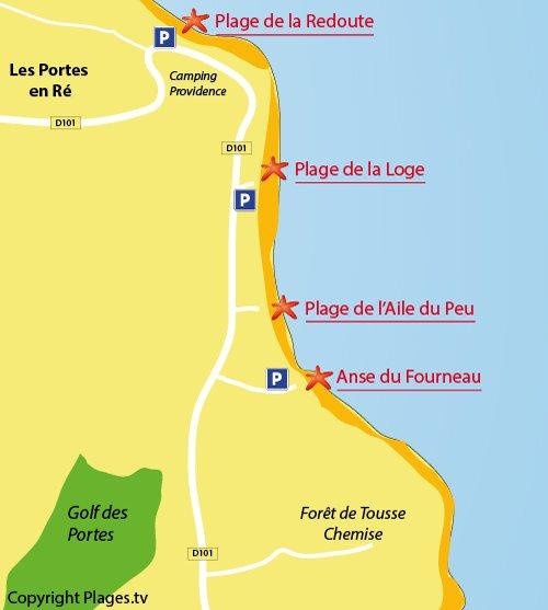 Carte de la plage de l'anse du Fourneau sur l'ile de Ré