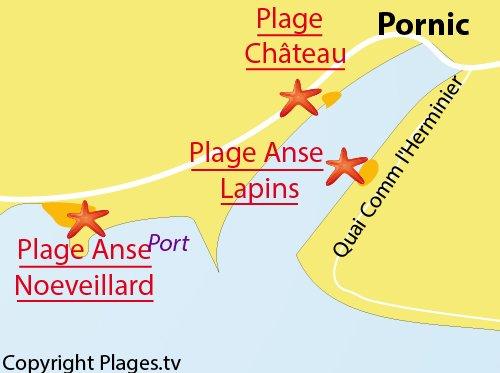 Carte de la plage de l'Anse aux Lapins à Pornic
