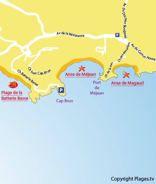Map of Mejean Beach in Toulon