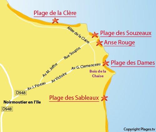 Carte de la plage de l'anse rouge à Noirmoutier