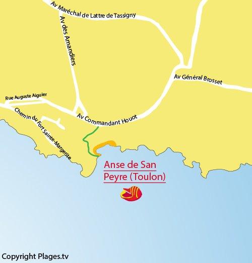 Carte de la plage et de l'anse San Peyre de Toulon