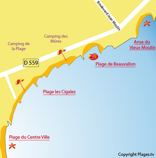 Map of Vieux Moulin Cove in Port Grimaud