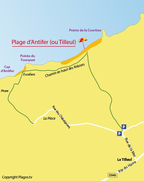 Map of Antifer beach in Le Tilleul