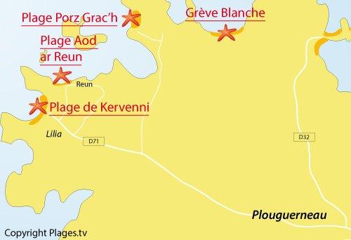 Carte de la plage d'Aod ar Reun à Plouguerneau