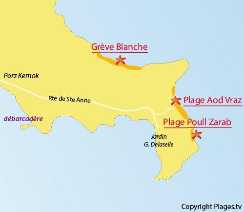 Carte de la plage d'Aod Vraz sur l'ile de Batz