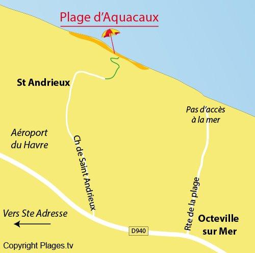 plan de la plage d'Aquacaux à Octeville sur Mer