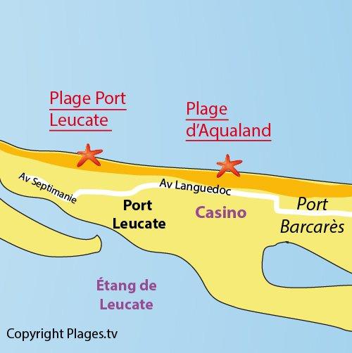 Carte de la plage d'Aqualand à Port Leucate