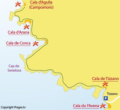 Mappa della Cala d'Arana a Sartène - Corsica
