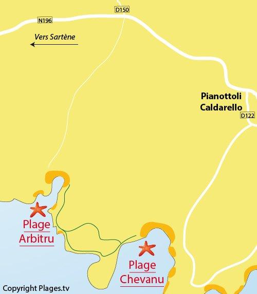 Mappa della Spiaggia d'Arbitru a Pianottoli Caldarello