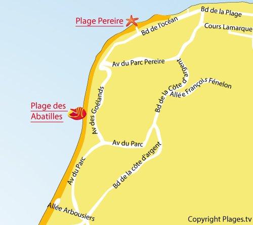 Plan de la plage des Arbousiers d'Arcachon