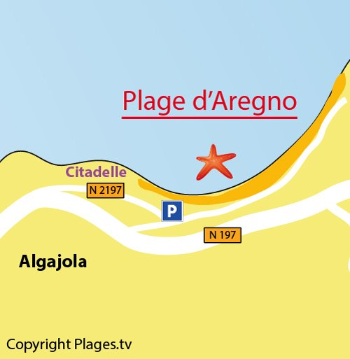 Map of Aregno Beach in Corsica