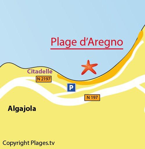 Map of Aregno Beach in Corsica