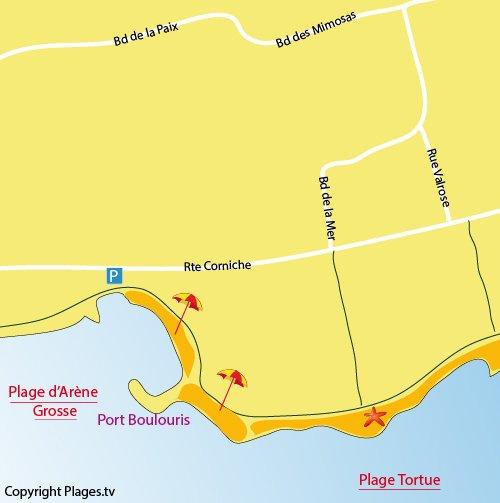 Plan de la plage d'Arène Grosse à St Raphaël
