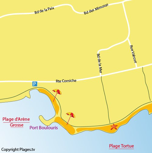 Map of Arene Grosse Beach in Saint Raphaël