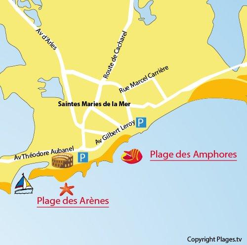 Carte de la plage des Arènes aux Saintes Maries de la Mer