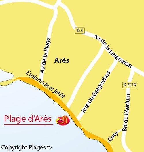 Plan de la plage dans le centre d'Arès