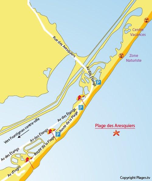 Carte de la plage des Aresquiers à Frontignan