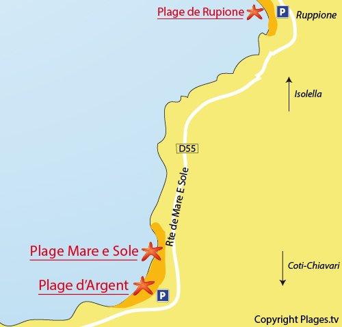 Map of Argent Beach in Coti Chiavari - Corsica