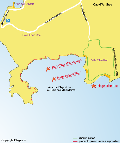 Map of Argent Faux Beach in Cap d'Antibes