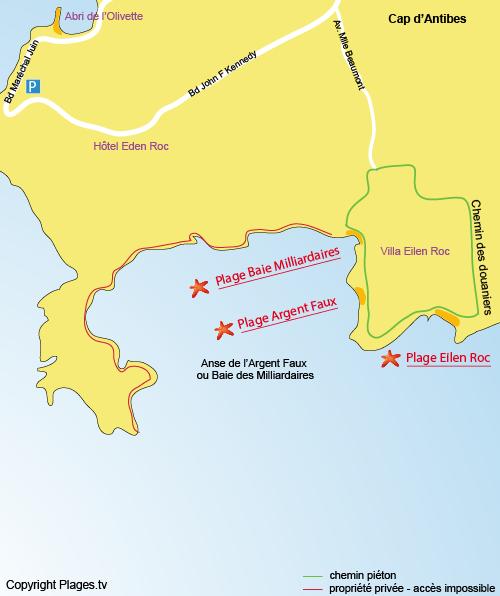 Plan de la plage de l'Argent Faux au Cap d'Antibes