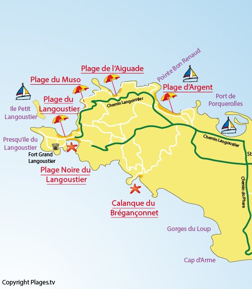 Map of Argent Beach in Porquerolles