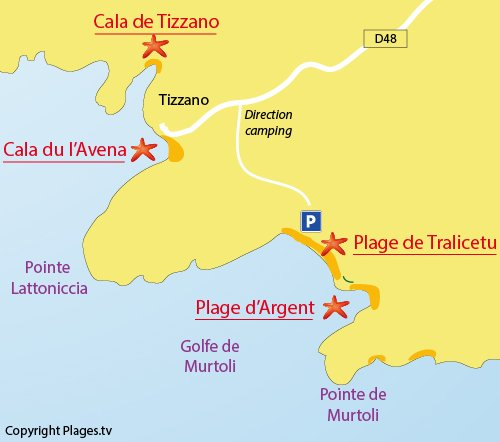 Map of Argent beach in Sartène