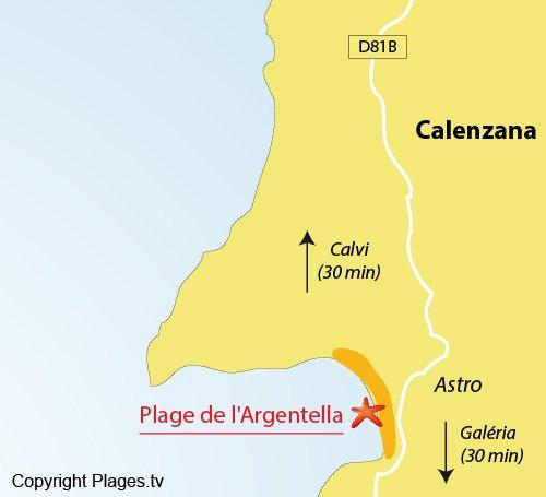 Carte de la plage de l'Argentella à Calenzana
