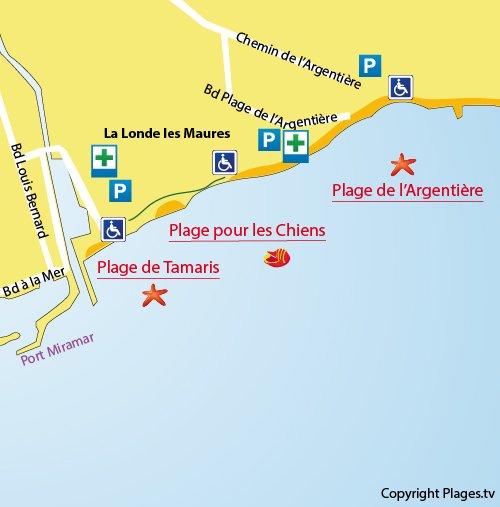 Carte de la plage de l'Argentière à La Londe dans le Var