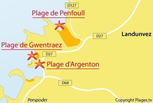 Carte de la plage d'Argenton à Landunvez